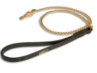 Chain Dog Lesh - Gold plated HS Dog Lead with leather handle